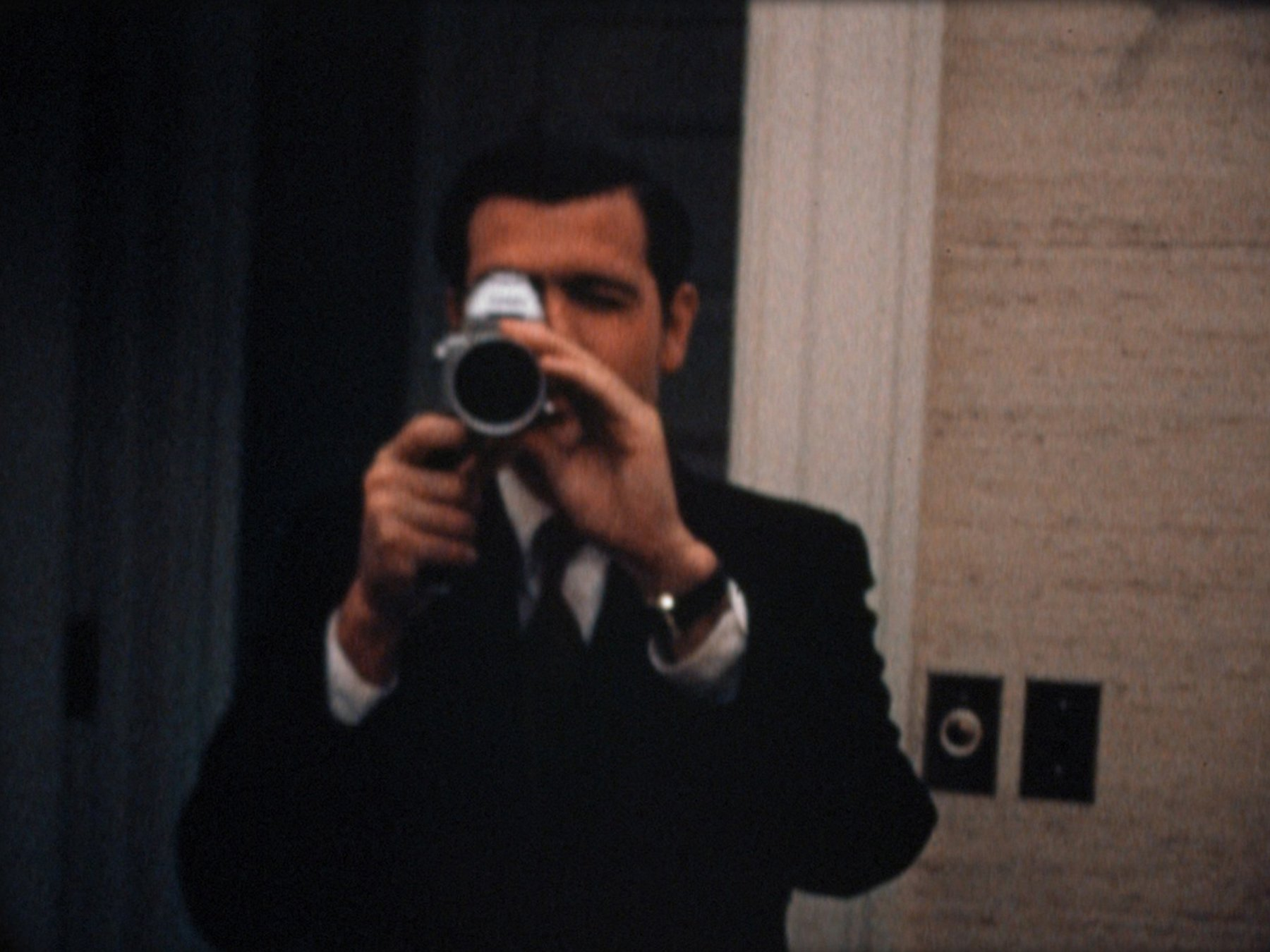 Special Assistant Dwight Chapin films Haldeman filming him at the White House on the night of the Apollo 11 moon landing (July 20, 1969). Super 8 film still courtesy of Dipper Films.